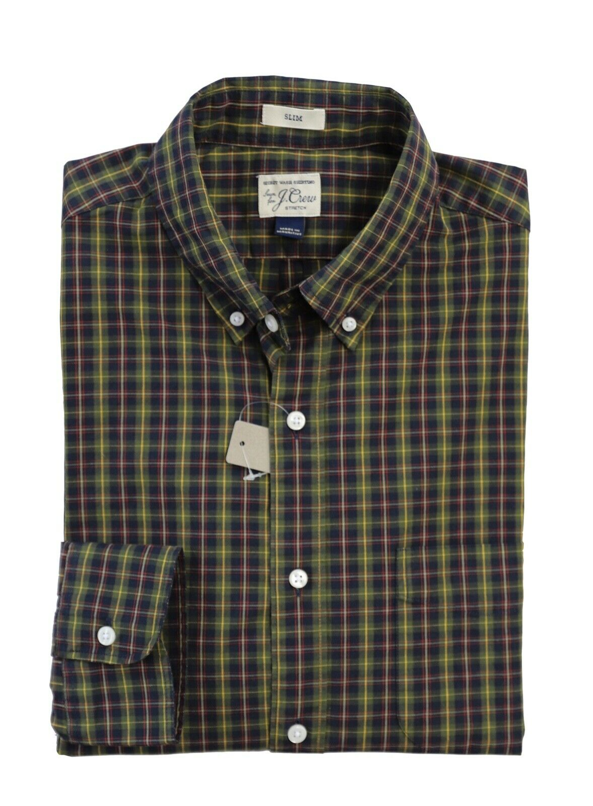 J.Crew - Men's XXL Slim Fit - NWT - Green Multi Plaid Cotton Stretch Shirt