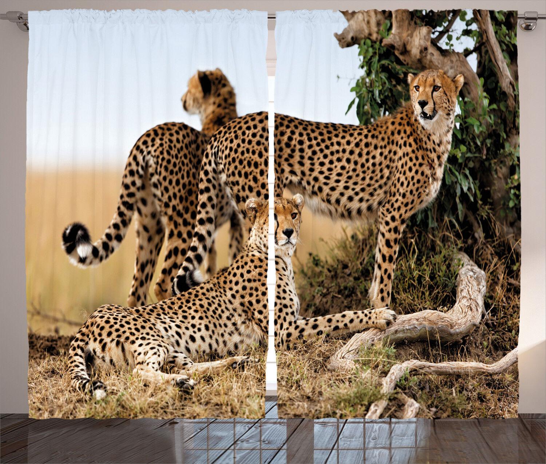 Wildlife Curtains Safari Animal Animal Animal Cheetahs Window Drapes 2 Panel Set 108x84 Inches 1eae98