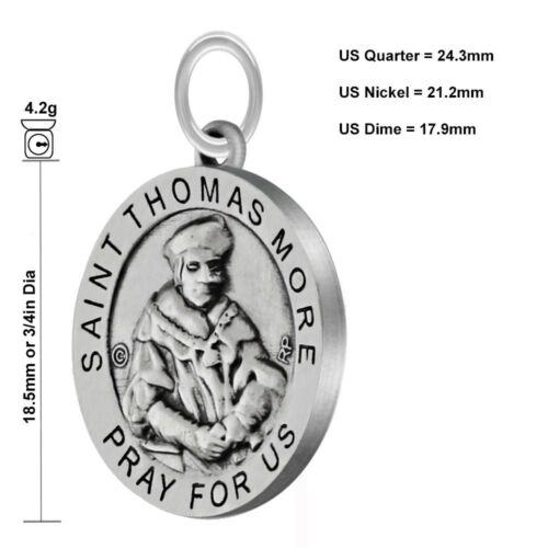 Antiqued 3//4in 0.925 Sterling Silver Saint St Thomas More Medal Pendant Necklace