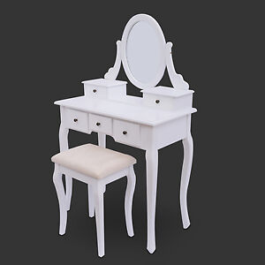 White-Dressing-Table-with-Stool-Luxury-Mirror-Make-up-Drawers-Dresser-Chic-Style