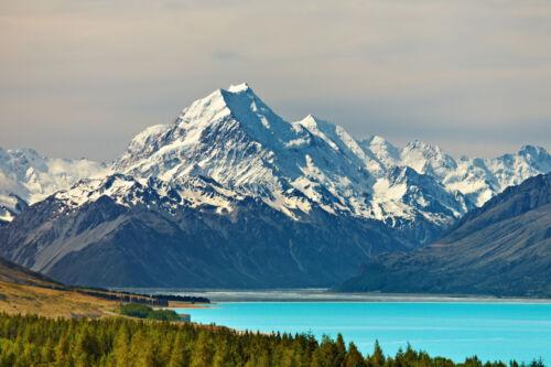 -350x260cm-7Bahnen 50x260cm-Neuseeland Berg See XXL 319P Fototapete-MOUNT COOK-