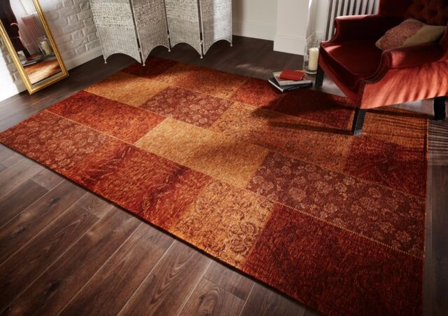 Manhattan Patchwork Chenille Terracotta Rugs Traditional Floor Rug Mat