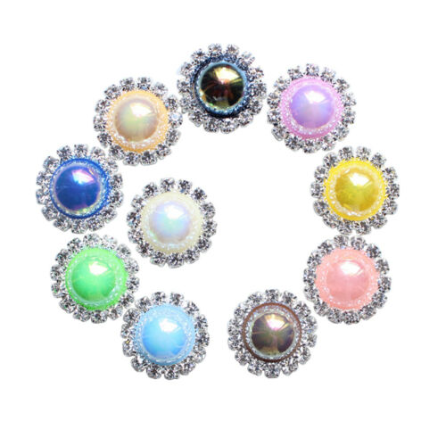 10pcs 18mm Mixed Color Crystal Pearl Buttons Flatback Embellishments Crafts