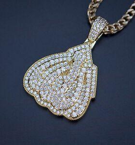 5cf911fec8cbd Details about Mini Yellow Gold Allah Pendant With Chain Set Necklace