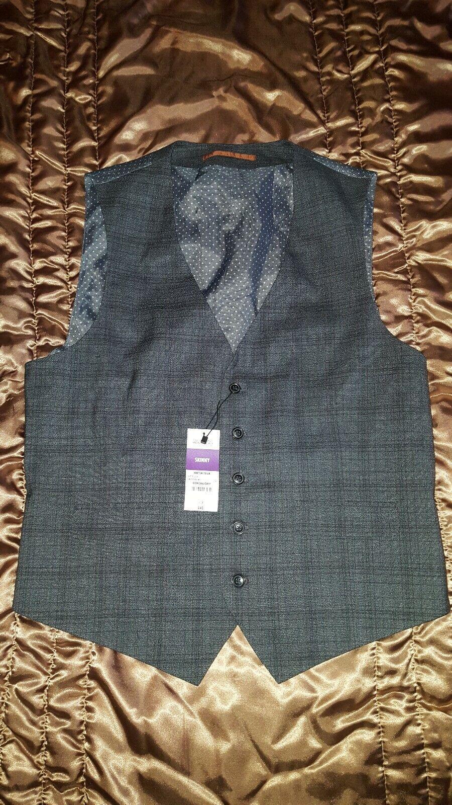 Burtons New Grey checked Waistcoat smart Wedding Bnwt rrp skinny large 42 44