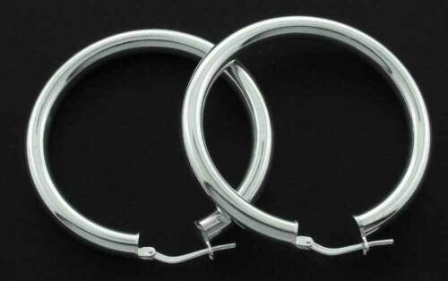 STERLING SILVER ROUND EARRINGS CREOLE POLISHED TUBES RIBBON HOOPS PLAIN SLEEPERS