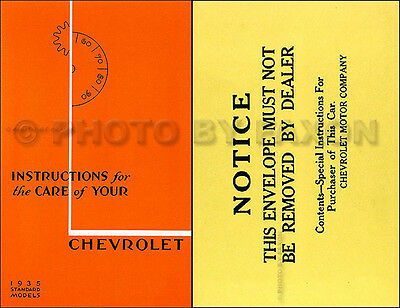 1935 Chevrolet Standard Car Owners Manual Package with Envelope 35 Chevy Guide
