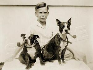 BOY ANTIQUE BOSTON TERRIER DOG PIPE VINTAGE 1933 CANINE PHOTO *CANVAS* ART PRINT