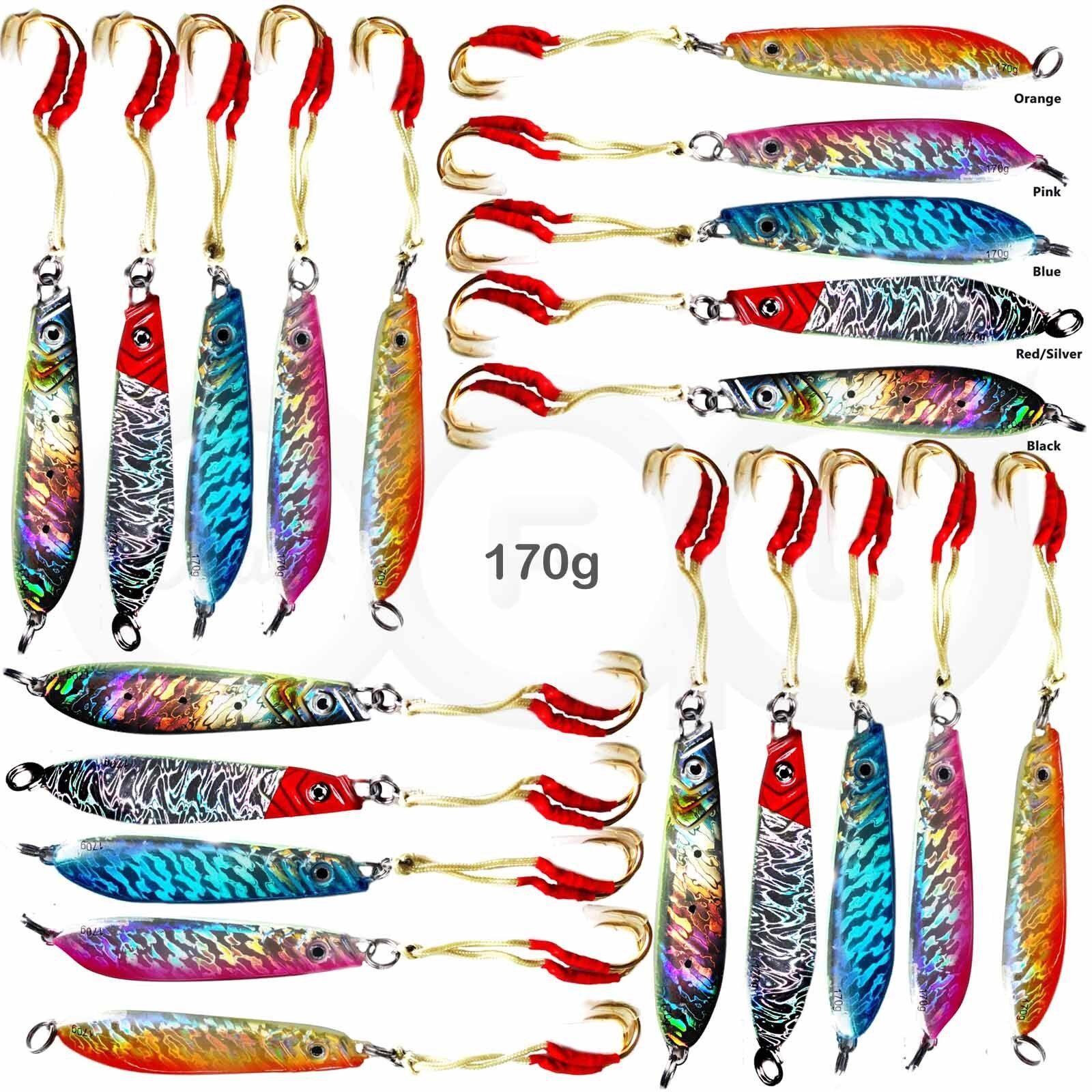 20pcs 170g Fishing greenical Knife Jig 6oz Fish Lure Speed jig assist hook 5color