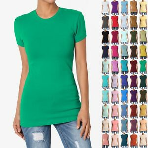 TheMOGAN-Women-039-s-Basic-Plain-T-SHIRT-CREW-Neck-Short-Sleeve-STRETCH-Cotton-Tee