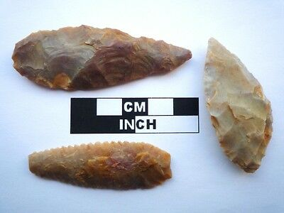 3 x Neolithic Spearheads, Saharan Flint Artifacts - 4000BC  (0922)