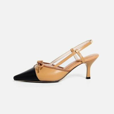 c85b63e07 Details about Women Fashion Leather Two-Tone Bow Tie Slingback Mid Heel  Kitten Court Shoes b9w