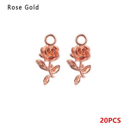 Tibet Silver  Bracelet Beads Small Charm Rose Flower  Necklace Pendant