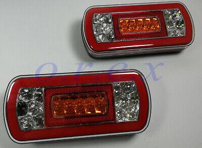 2 x 24V Universal LED Tail Rear Hamburger Lights Truck Caravan Camper Tipper