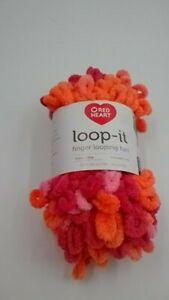 1 Skein Red Heart Loop-It Yarn Ok Coral  Finger Looping Fun   Variegated