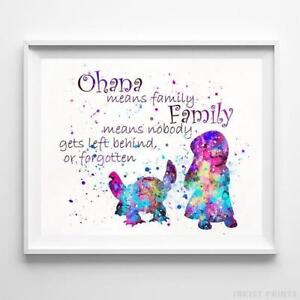 Details about Lilo and Stitch Quote Wall Art Disney Watercolor Poster  Nursery Print UNFRAMED