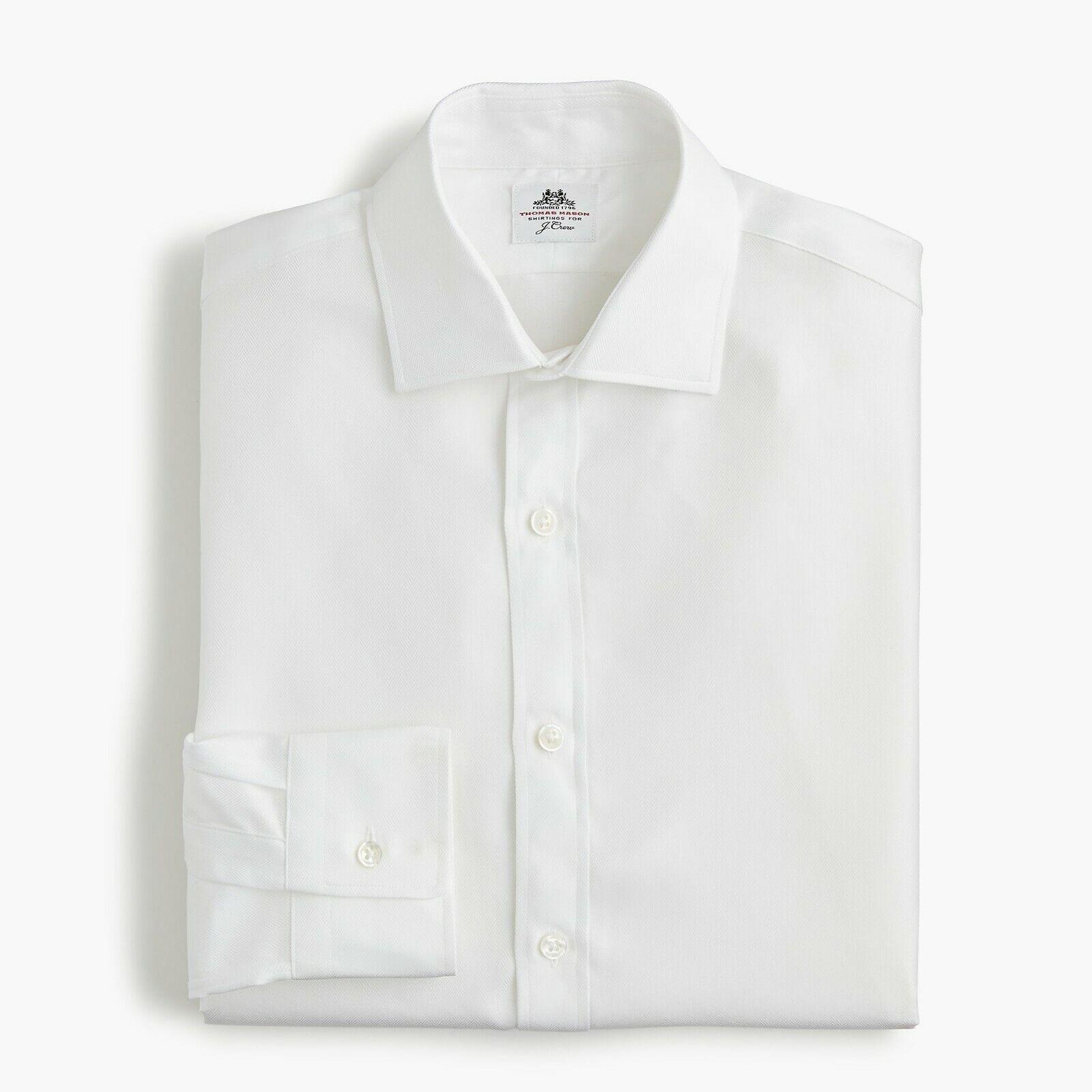 J. Crew Thomas Mason Mens Ludlow Slim Fit White Dress Shirt org  15.5 34 NWT