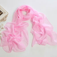 Long Chiffon Scarf Solid Pink Color Chl305