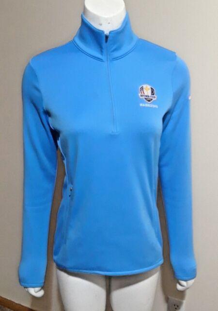 b316bc10 Nike Golf Therma Fit 1/4 zip pullover jacket Light Blue Ryder Cup 16  Hazeltine