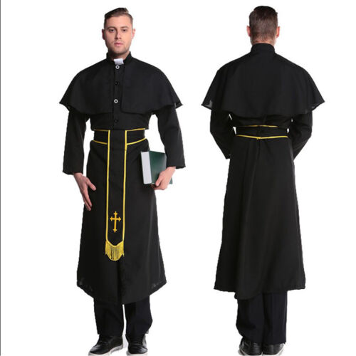 Men Vicar Priest Halloween Fancy Dress Outfit Church Costume Cross Robe Suit