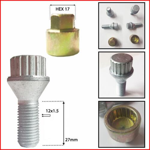 27mm Conici Kit Bulloni Ruota Antifurto M12x1,5 12x1.5 Cerchi lega lung
