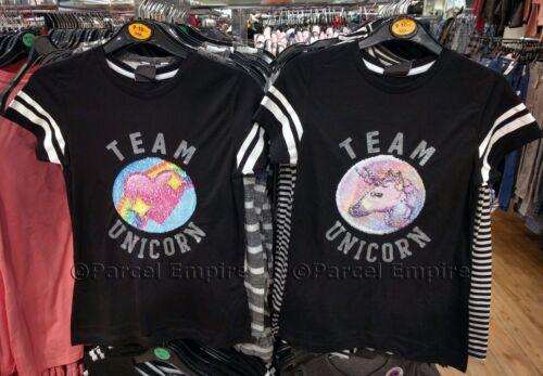 The Amazing BRUSH SEQUIN Reversible RAINBOW UNICORN T-Shirt Girls Top Present UK
