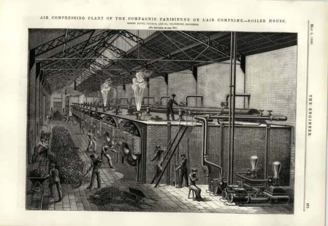 1889 Air Compressing Plant Boilerhouse Paris Air Comprime Locomotive Practice
