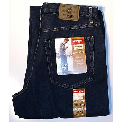 New Wrangler Five Star Men's Relaxed Fit Jeans Indigo Denim Color All Sizes