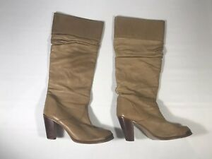 Zodiac Light Brown Leather Western Slouch Cowboy Boots Size: 8 m