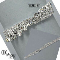 STUNNING CLEAR RHINESTONE CRYSTAL BRACELET FORMAL WEDDING CHIC & TRENDY JEWELRY