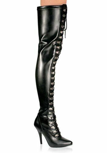 Pleaser SEDUCE-3024 5 Inch D-Ring Stretch Thigh Boot Side Zipper