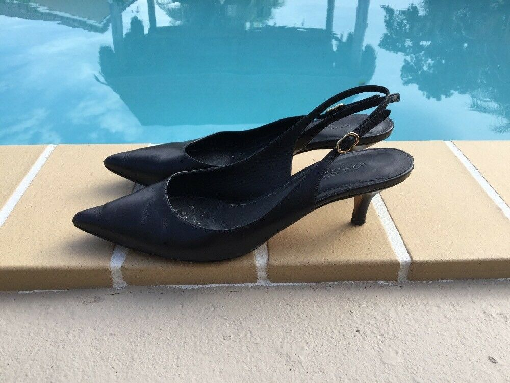 DOLCE & GABBANA BLACK LEATHER SLINGBACK SANDALS PUMPS Sz 36.5M MADE IN ITALY