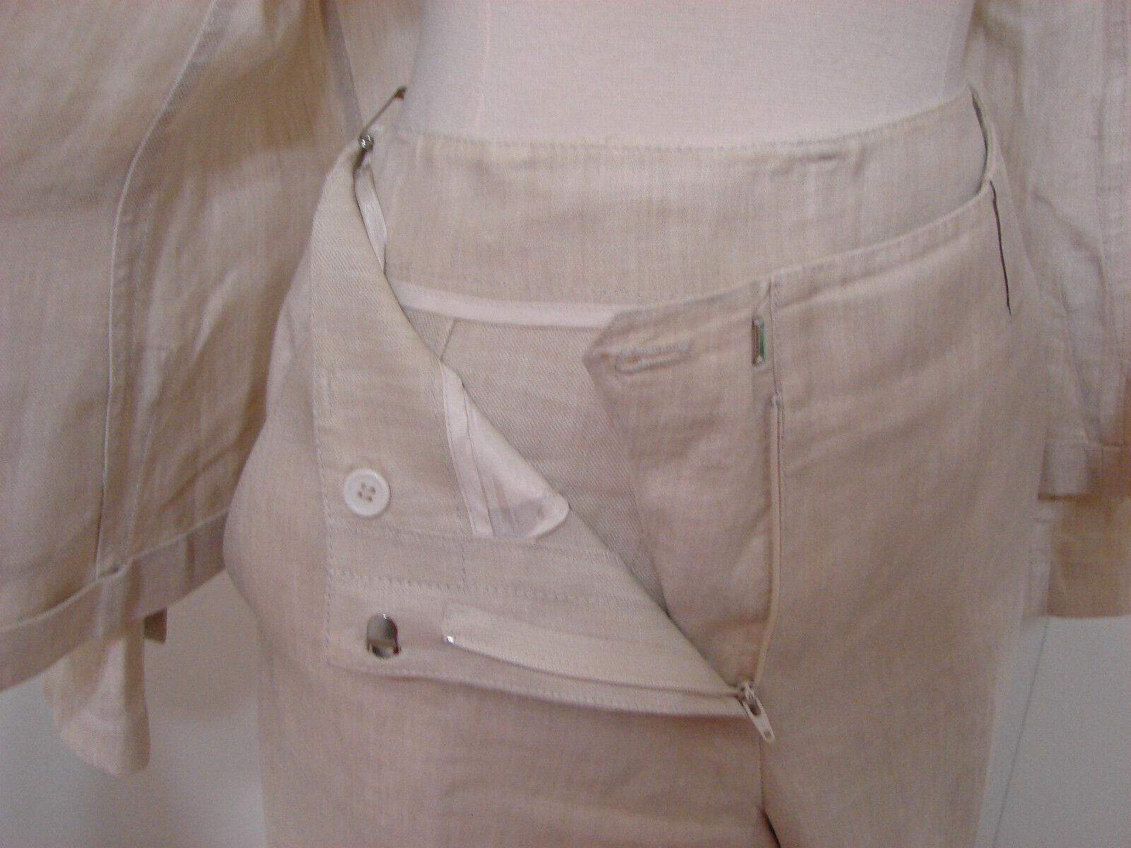 Donna Karan DKNY Pant Suit & Jacket Cream 100% Li… - image 3