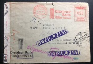 1940 Freiburg Germany Meter Cancel Dresdner Bank Cover To Chisináu Returned Mail