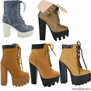 New Women Chunky Heel Boots Platform Lace Up Padded Collar Ankle ...