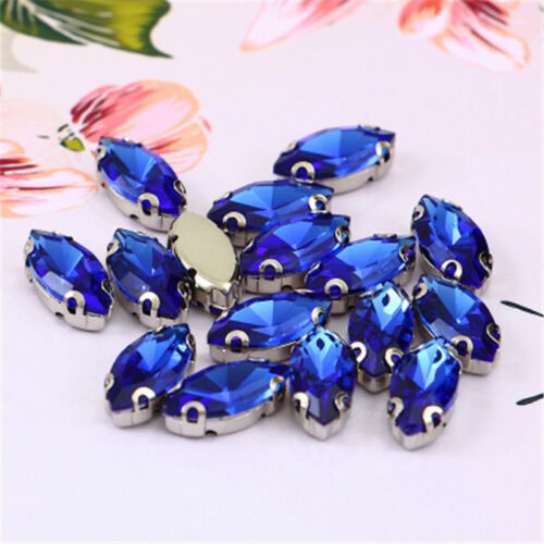 50pcs 7x15mm sew on rhinestone cabochons navette crystal glass D claw diy making