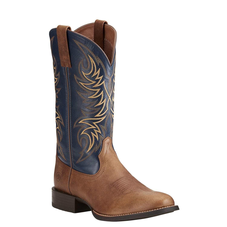 Ariat® Men's Sport Horseman Sandstorm Brown & Blue Boots 10021699