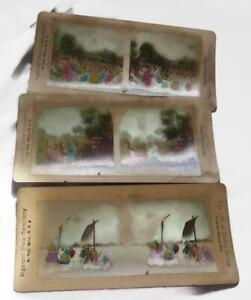 3-Antique-Stereoscope-Stereoview-Cards-Ingersoll-Tinted-Passion-Play-Views