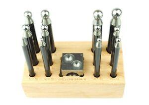 12 Pieza Embutidores Embutidores Punch Set (pequeño, mini) y 1&#034; Acero Abovedado Bloque. J1264  </span>