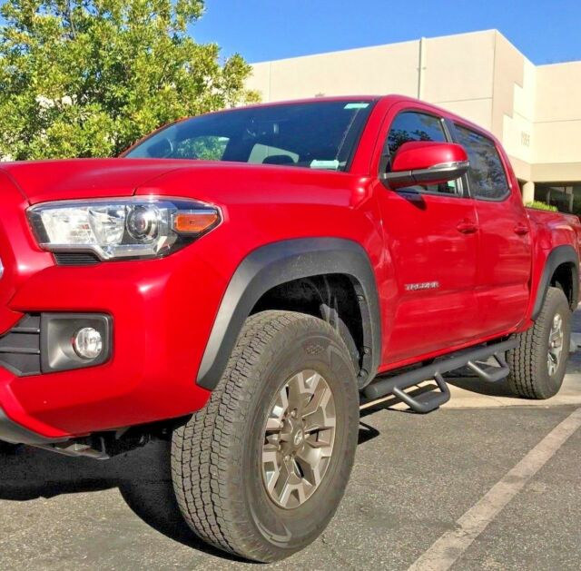 05 19 For Toyota Tacoma Double Cab Side Blk Steps Nerf