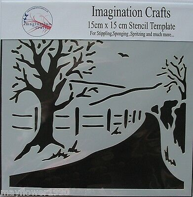 "Imagination Crafts MASK Stencil template 6"" x 6"" (15cm ) FIELD VIEW country lane"