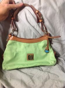 PRE-LOVED-Used-Dooney-amp-Bourke-Small-Hobo-Handbag-Nylon-Green