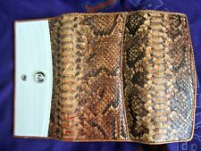 Genuine python GUCCI Skin& ostrich  long Wallet Brown AUTHENTIC purse lady