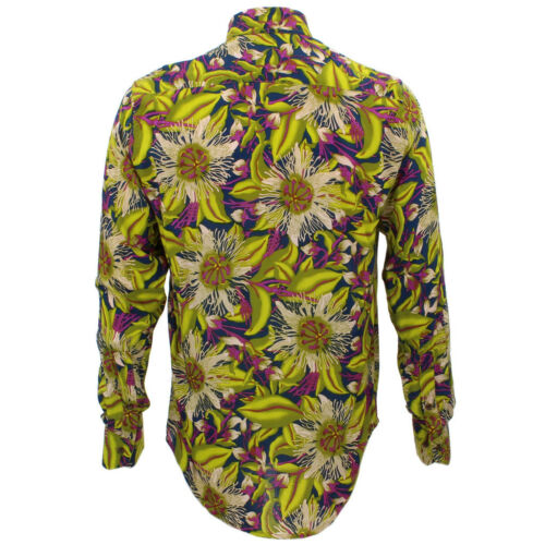 Floral Tailored Psychedelic Funky Green Retro Mens Loud Party Fit Shirt xPqwOnTRz7