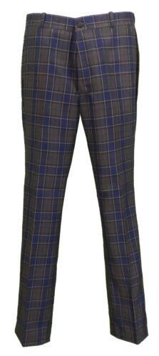 Relco Mens Blue Tartan Check Slim Fit Sta-Press Mod//Golf//Retro Trousers