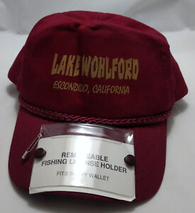 Details about FISHING LICENSE snapback hat cap LAKE WOHLFORD ESCONDIDO  adjustable CA VTG red