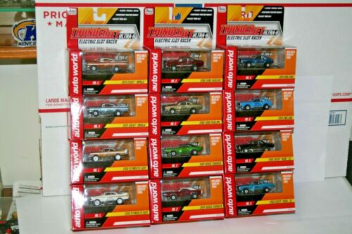 Auto World Complete Set of 12 Rel.18 Thunderjets HO Scale Electric Slot Cars New