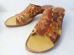 Pikolinos-EUR-38-US-7-5M-Brown-Leather-ChainLink-Slide-Sandal-Shoe-SPAIN