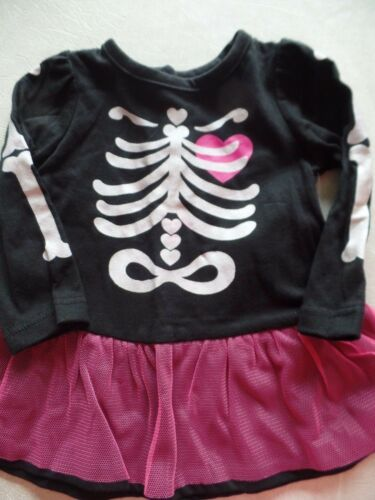 NEW baby girls SKELETON OUTFIT halloween costume TUTU LEGGINGS twins 6-9 MONTHS