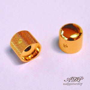 2x-Boutons-Metal-Gotoh-Tele-Dome-Knobs-18x18mm-SplitShaftPots-6mm-SmallGrip-Gold
